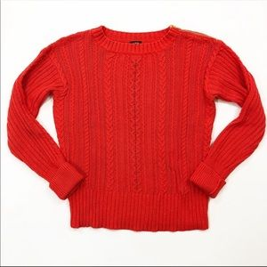 J.Crew Zip Cable Sweater Orange Style 47171